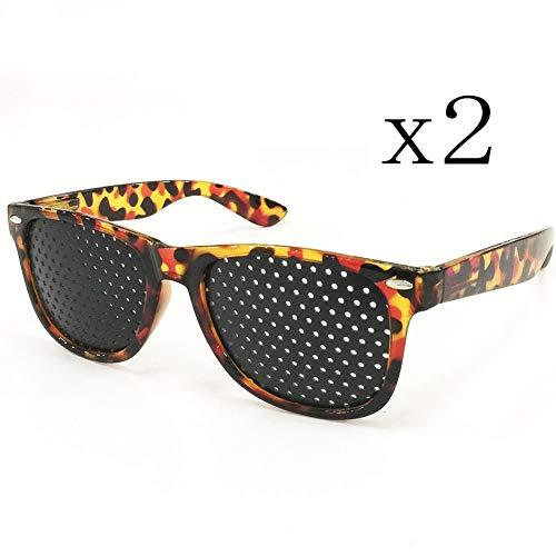 2 Stk. Schwarze Lochblenden-Sonnenbrille, Lochblenden-Mikroloch-Sonnenbrille mit kleinem Loch, Strabismus-Korrektur-Brille mit kleinem Loch, Micro-Loch-Anti-Ermüdungs- / Anti-Myopie- / Astigmatismus-B