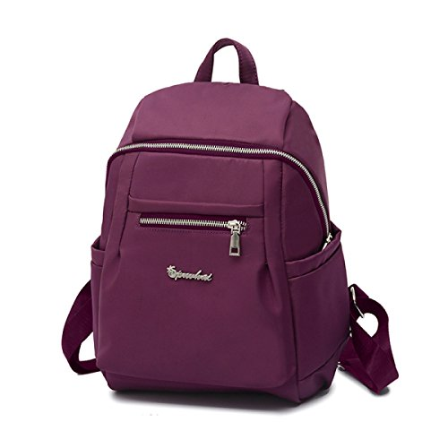 Frau Fashion Umhängetasche Nylon-Rucksack Freizeit-Reisetasche purple