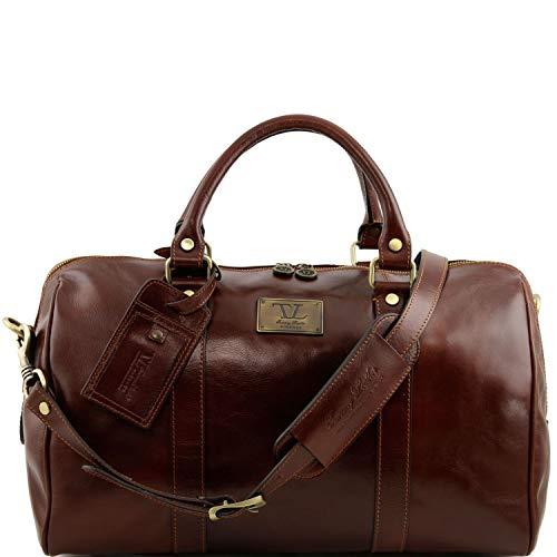 Tuscany Leather TL Voyager Sac de voyage en cuir avec poche à l'arrière - Petit modèle Marron