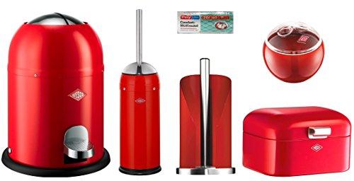 Wesco 5er Bad-Set rot mit 40 Müllbeutel, Single Master Mülleimer + Toilettenbürste + Rollenhalter + Mini Grandy + Mini Ball
