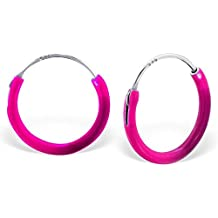 Plata de Ley Sleeper Pendientes de aro de color rosa para niñas por Kate Benson,