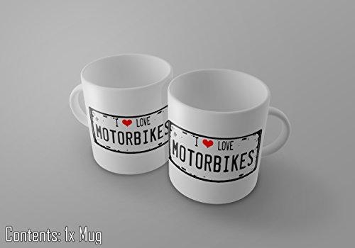 I love Motorräder–Vintage Nummernschild Print 11Oz Tee/Kaffee Tasse–New (Zucker-print-tee)