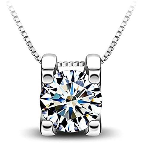 AieniD Joyas de Moda Mujer Collar Colgante de Plata Redondo Blanco Cubic Zirconia 40 / 45cm Caja Cadena
