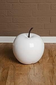 Décoration de fruits de pomme en pomme en fibre de verre Blanc brillant, 25x29x25