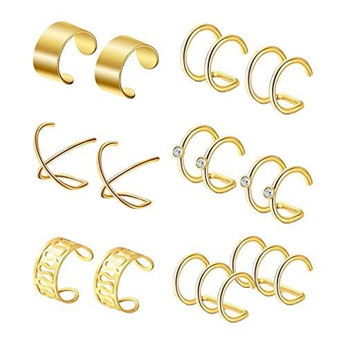 MOONRING Punk Ohrclip Manschette Ohrringe Nicht-Piercing Hohl U-Form Clip Ohrringe Männer Frauen Ohr Manschette Ohr Knochen Clips Ohrring, Gold