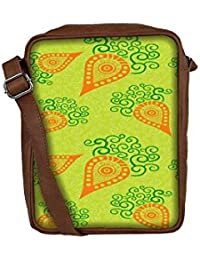 Snoogg Green Pattern Sling Bags Crossbody Backpack Chest Day Pack Travel Bag Book Bag For Men & Women