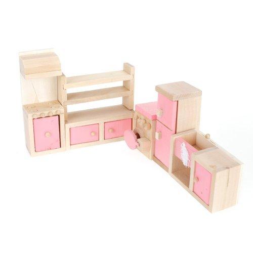 ANKKO Holz Puppenhaus Möbel Spielzeug Küche eingerichtet