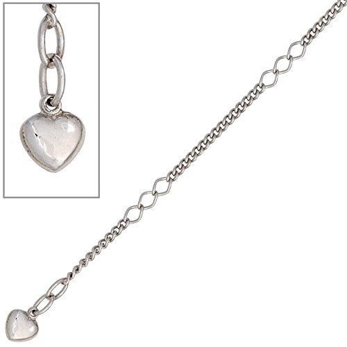 Fußkette Fußkettchen Fußschmuck Herz 925 Echt Silber Damen 27cm Silberkette