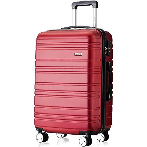 Flieks Hartschale Trolley Koffer Reisekoffer Zwillingsrollen Reisekoffer mit Zahlenschloss Handgepäck mit (Rot, Handgepäck) -