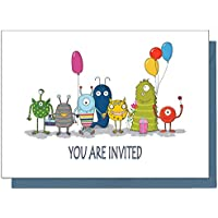 the lazy panda card company 15 Eco Friendly Monster Birthday Invitations for Children (With Blue Envelopes)