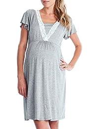 QinMM Vestido de lactancia maternidad de noche Camisón Mujeres embarazadas ropa de dormir Premamá pijama verano