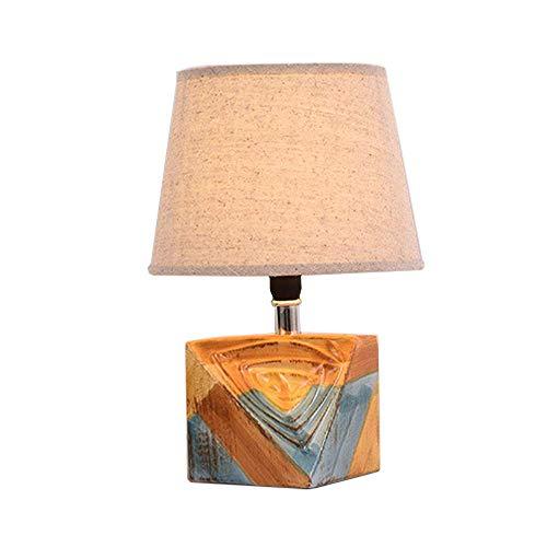 Tischlampe Keramik,Tischleuchte E14 Beige,Nachttischlampe Leselicht Dekoleuchten Geometrie Glatte Farbe Glasur Körper Schlafzimmer Wohnzimmer, Schreibtischlampe Stoff Lampenschirm Rund,A1 -