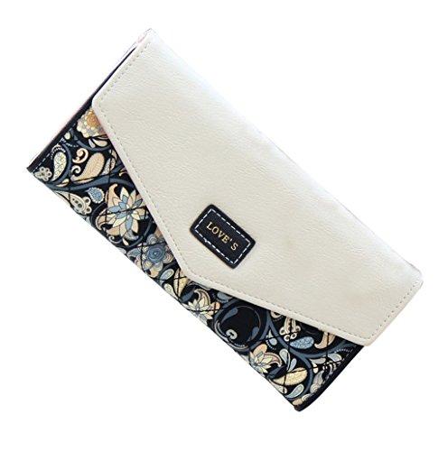 GoGou Damen Leder Trifold Wallet Clutch Lange Organisator-Geldbeutel (Billige Geldbörsen)