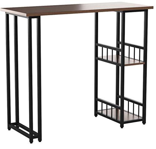 WOLTU BT25dc Table de Bar Table de Bistrot Table de comptoir avec 2 tablettes, Structure en métal Plateau en MDF,120x50x105cm Hêtre Foncé