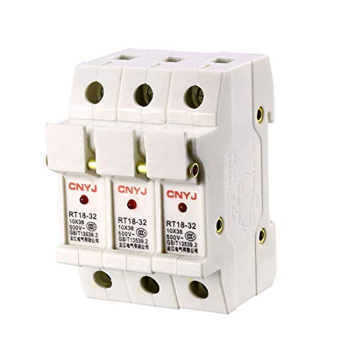 ZCHXD DIN Rail Mount Fuse Holder 3 Pole RT18-32 10mmx38mm with Indicator Light White Mount Fuse Holder