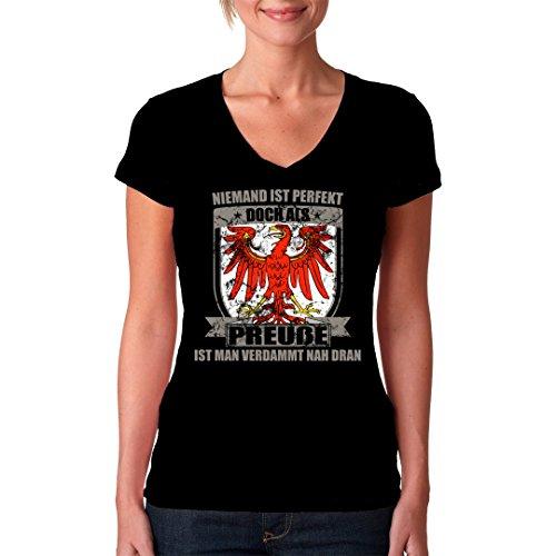 Fun Sprüche Girlie VNeck Shirt Perfekter Preuße Brandenburg Wappen by  ImShirt Schwarz