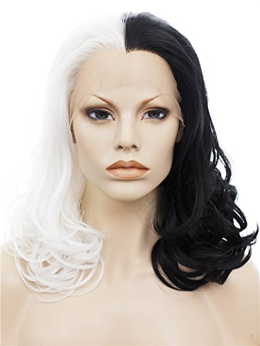 Imstyle Medium Length Body Wavy Half Black half white color synthetic lace front wigs heat resistant cosplay wigs by IMSTYLE (Queen Perücke White)