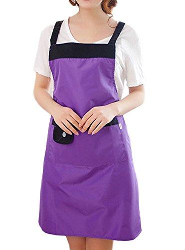 Moolecole Lustige Schürzen Pinafore Schürze Einstellbar Für Frauen Mit Zwei Taschen Nette ärmelWasserDicht Öl Küche Kleid Erwachsener Lätzchen Lila