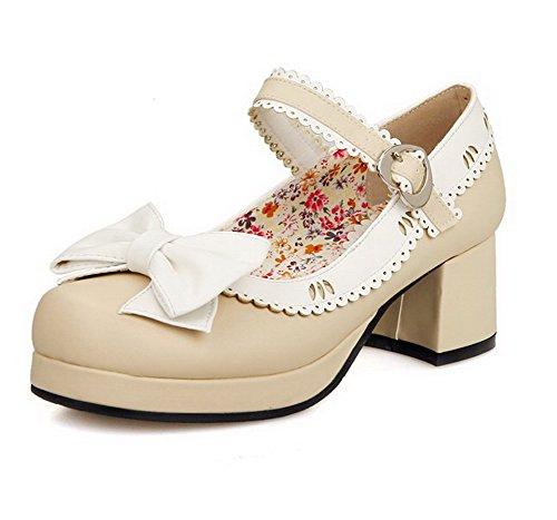 2096cc3ec3d235 VogueZone009 Damen Rund Zehe Mittler Absatz Schnalle Gemischte Farbe Pumps  Schuhe Cremefarben