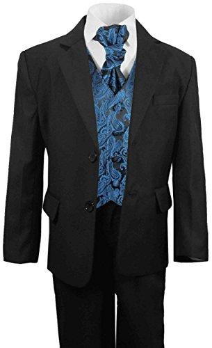Paul Malone festlicher Jungen Anzug (tailliert) schwarz mit festlichem Westenset petrol paisley