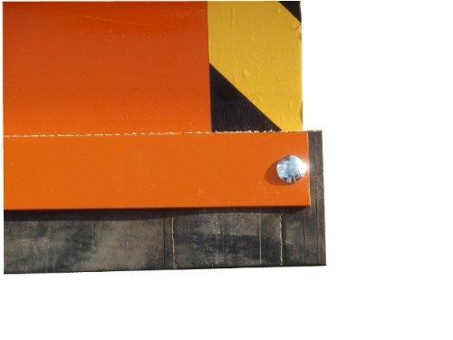 Universal-Räumschild Orange 150 cm breit + 40 cm hoch / Für Einachser oder Rasentraktor / 3-stufig verstellbar / Inklusive wechselbarer Schürf-Leiste aus Gewebe-Gummi / Mit Reflektoren / Schneeschieber Schneeschild Winterdienst Schneeschaufel