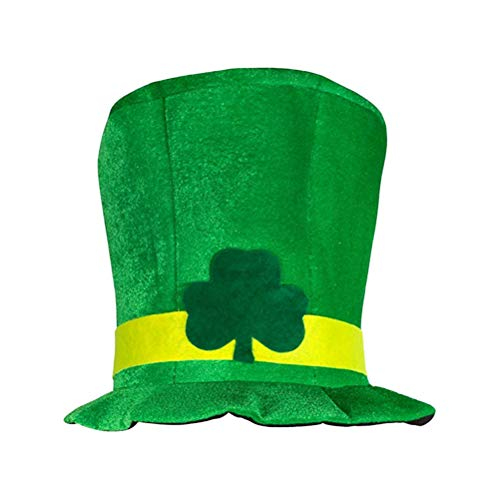 Amosfun St.Patricks Day Fancy Dress Clover Velvet Top Hat Velour Topper Gorra Irlandesa Gorra de Disfraces Accesorios para la Fiesta del día de San Patricio