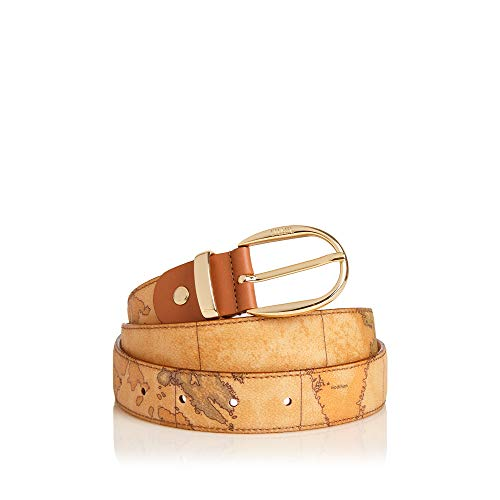 Alviero Martini 1^ Classe Cintura Donna cm 2,5 | cm 115 Geo | Fibbia oro (Beige)