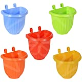 VREENY Hanging pots, Planter Pots for Small Plants, Railing Flower Plant, and Balcony Plant Pots, Vertical Hook pots for Home Gardening, Unbreakable (Multi Color Pack of 5)