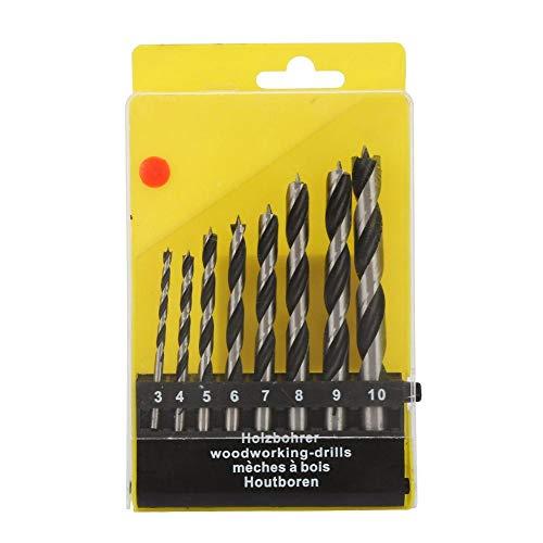 Holz Drei-Punkt-Bohren PVC-Bit 3-10mm Kohlenstoffstahl Holzbearbeitung Offene Löcher Twisted Bohrer Set für Bohrmaschine 8pcs (Bohrer Twisted)