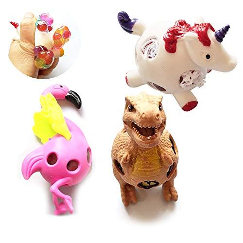 Wudi 3pcs Mesh-Squishy Spielzeug Anti-Stress-Ball-Set-Druck-Helfer-Bälle von Dinosaur Einhorn Flamingo Form Stress-Squeeze Spielzeug für Kinder Spielzeug-Geschenk