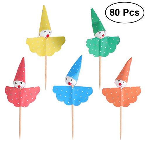 LUOEM 80 Stücke Clown Kuchen Cupcake Topper Picks Deko Kuchendekoration für Kindergeburtstag Baby Dusche Party