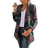 Xmiral Strickjacken Damen Kariertes Umlegekragen Freizeit Anzugjacke Langarm Doppelseitige Kleidung Pullover Mantel(Grün,L)