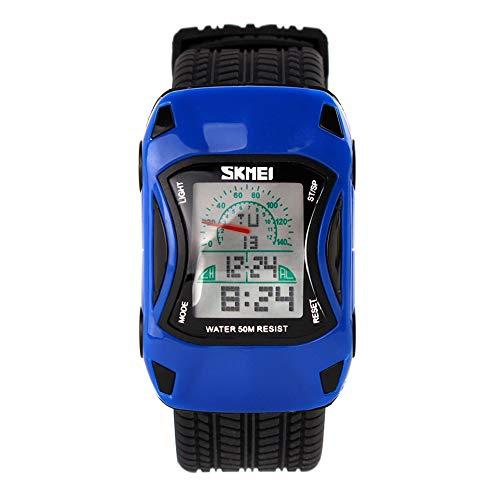 Orologi polso Modello di auto giocattolo Luminoso Calendario Allarme Cronometro Digitale Orologi da bambino Trama di pneumatici Cinturino in Silicone Sport, Blu