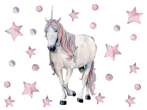 GRAZDesign Wandtattoo Einhorn rosa Aquarell - Set mit Herzen - Deko Kinderzimmer Mädchenzimmer - Geschenk Mädchen - Wanddeko/Blattgröße 40x57cm