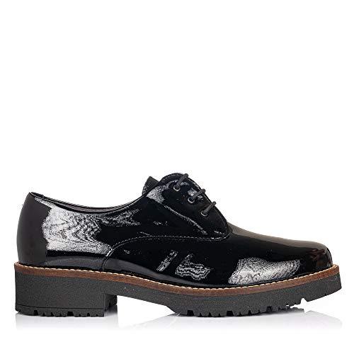 PITILLOS 5790 Zapato Cordones Charol Mujer Negro 37