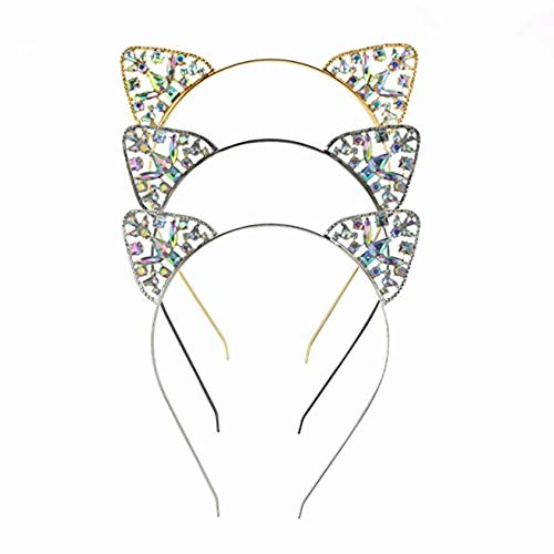 LHKJ 3 süße Haar Reifen, Glitzer Katze Ohren für Party Accessoires