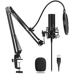 TONOR Microphone à Condensateur USB Enregistrement pour Ordinateur de Bureau et Ordinateur Portable MAC Windows Microphone Cardioïde pour Enregistrement Studio Conversation YouTube Voice Over