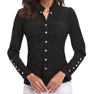 blusas y camisas para premamá: Blusas y Camisas de Mujer Oficina Tops de Moda Negras Manga Larga Casual con Cue...