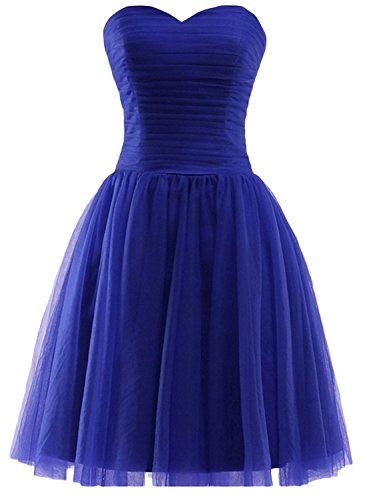 Azbro Women's Fashion Solid Color Off Shoulder Mesh Dress Royal Blue
