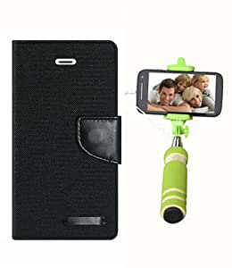Aart Fancy Wallet Dairy Jeans Flip Case Cover for LenovoA-6000 (Black) + Mini Fashionable Selfie Stick Compatible for all Mobiles Phones By Aart Store