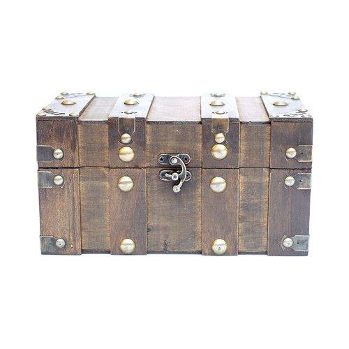 Truhe, Holzbox, Holztruhe, Schatztruhe, Kiste, dunkelbraun
