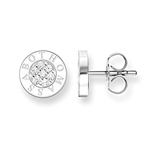 THOMAS SABO Women ear studs Classic pavé white ear plug 925 Sterling Silver H1547-051-14