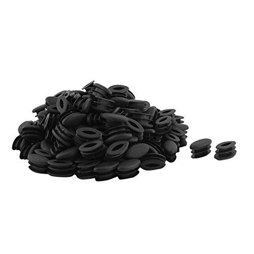 Sourcingmap® Pieds Table en Plastique Conception Ovale Tube à Embout Tuyau Noir 15mm x 30mm 150pcs