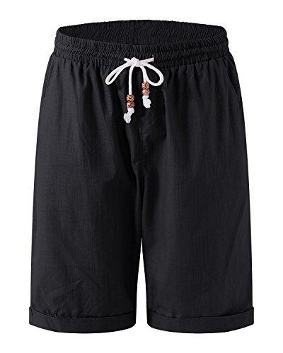MODCHOK Herren Badeshorts Strandhosen Kurze Hosen Sommerhosen Drucken mit Kordelzug Schnelltrocknend Schwarz XX-Large