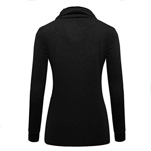 WanYang Femme Manteau De Sweat Shirt Manteau Sweats à Capuche Femme Col Haut Manches Longues Casual Style Automne Hiver Pull Over Noir