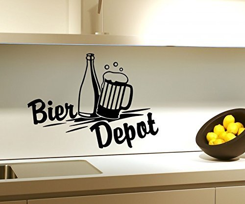 Wandtattoo Bier Depot Küche Bar Flasche Wand Sticker Aufkleber Wandbild 3D635, Farbe:Schwarz Matt;Breite vom Motiv:25cm (Html-bier)