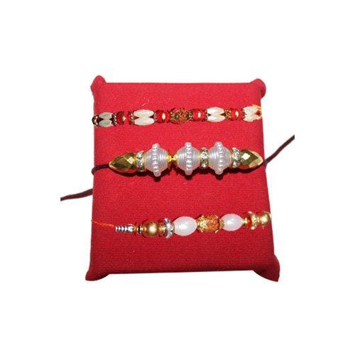mandala-creations-rakhi-set-of-3-beautiful-pearl-rakhis-set-with-haldiram-soan-papdi