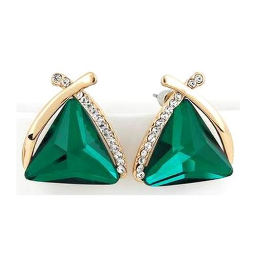 Shining Diva Fashion Green Crystal Gold Plated Cubic Zirconia Stud Earrings for...