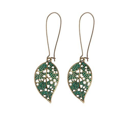 Schmuck Ohrringe,Jewelry Ethnic Vintage Leaf Rustic Drop Dangle Earrings Antique Bronze Plated Jewelry Women Fashion Jewelry -