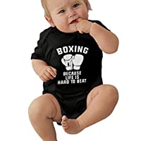 PKLUAS Baby Boy Girls Funny Boxing Because Life Is Hard To Beat Infant Romper Jumpsuit Short Sleeve Outfit For Newborn Gift (Size 0-24 Months)